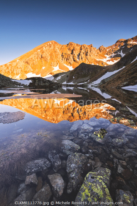 Grom lake at dawn In Stelvio national park, Brescia province, Lombardy district, Italy, Europe