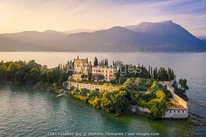 Aerial view of Isola del Garda with Villa Borghese, on the west side of Garda Lake, near Salò town. Garda Lake, Brescia province, Lombardy, Italy.