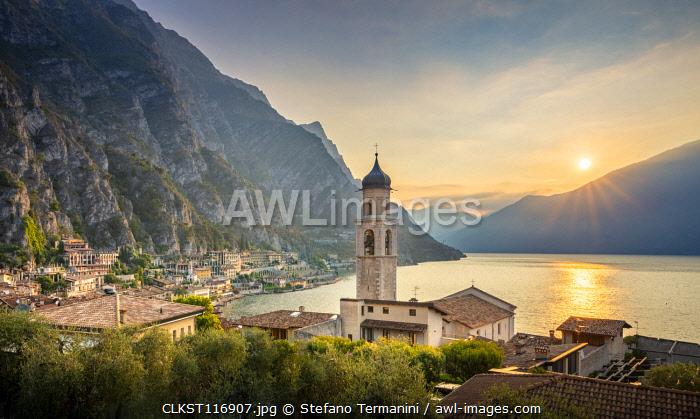 Limone del Garda village with historic lemon houses on Garda Lake. Limone sul Garda, Brescia province, Lombardy, Italy.