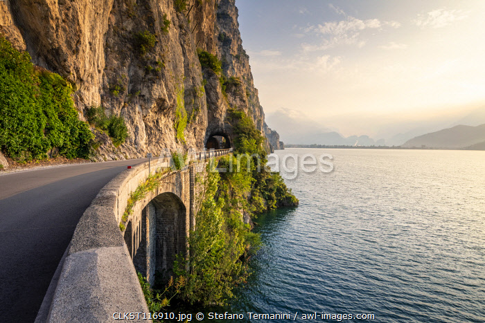 The SS45bis scenic road on the coast of Garda Lake near Limone sul Garda, brescia province, Lombardy, Italy