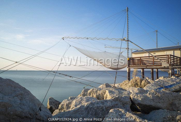 Cesenatico, Forlì-Cesena province, Emilia Romagna, Italy, Europe. Typical fishermen's hut at sunset
