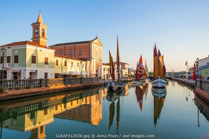 Cesenatico, Forlì-Cesena province, Emilia Romagna, Italy, Europe. View of the Porto Canale Leonardesco with traditional sailboats