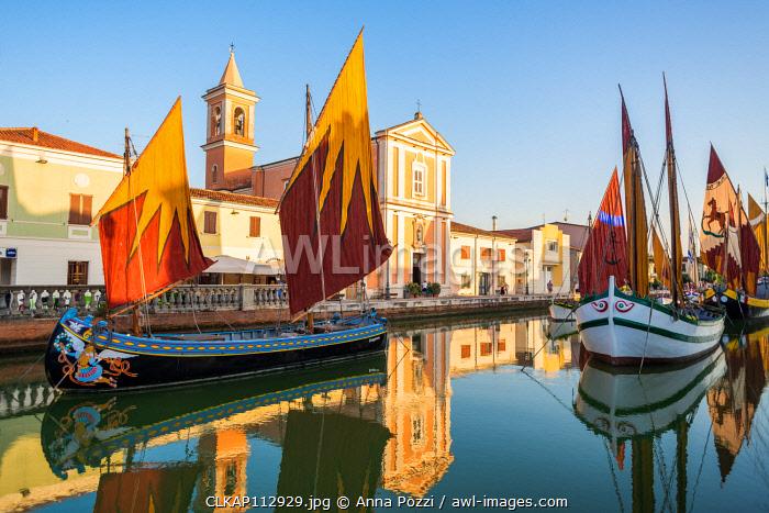 Cesenatico, Forlì-Cesena province, Emilia Romagna, Italy, Europe. View of the Porto Canale Leonardesco with two traditional sailboats