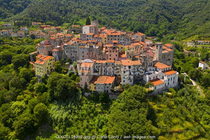 Aerial view of the historic centre of Ameglia, La Spezia province, Liguri, Italy, Europe
