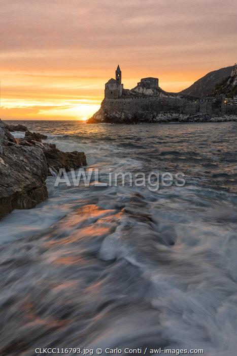 overview of San Pietro Church at sunset in summer time, Porto Venere, La Spezia province, Liguria district, Italy, Europe