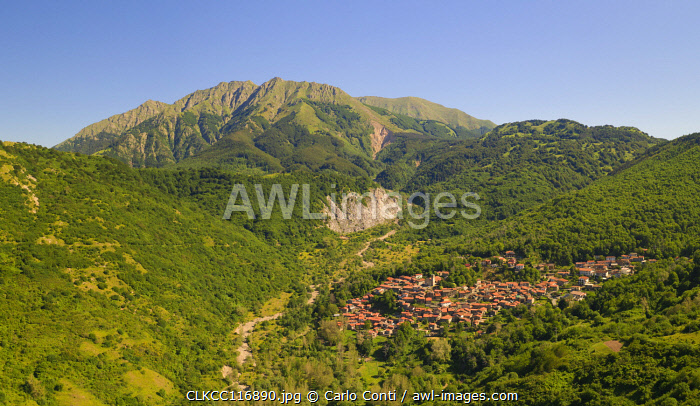 The Alto Mountain and little town of Sassalbo insummer day, municipality of Fivizzano, Massa Carrara province, Tuscany district, Italy, Europe