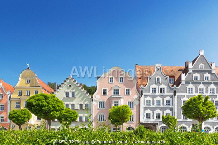 The typical bavarian Facades in the oldtown of Landshut, Landshut, Lower Bavaria, Bavaria, Germany, Europe