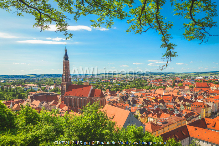 The oldtown of Landshut seen from Castle Trausnitz, Landshut, Lower Bavaria, Bavaria, Germany, Europe