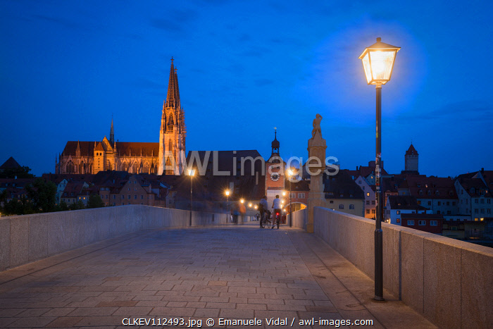 An evening on the stone bridge of Regensburg, Lower Bavaria, Bavaria, Germany, Europe