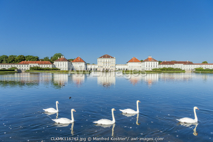 Munich, Bavaria, Germany. The Nymphenburg Palace with its landscape garden
