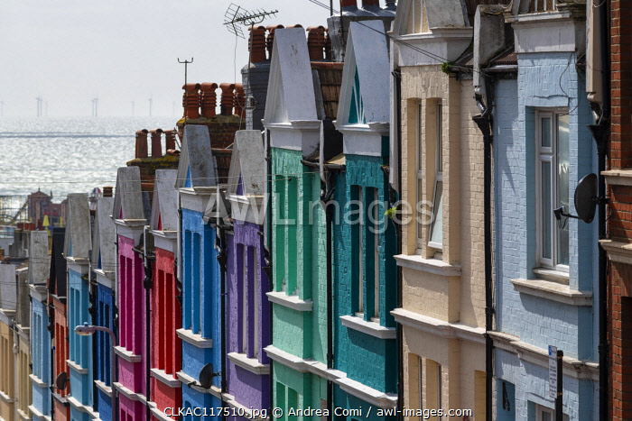Colored houses, Brighton, East Sussex, England, UK