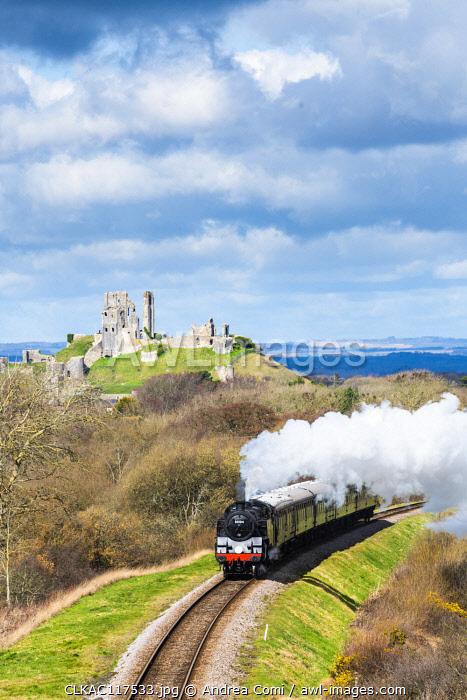 Steam train on the Swanage Railway, Corfe Castle, Dorset, England, UK
