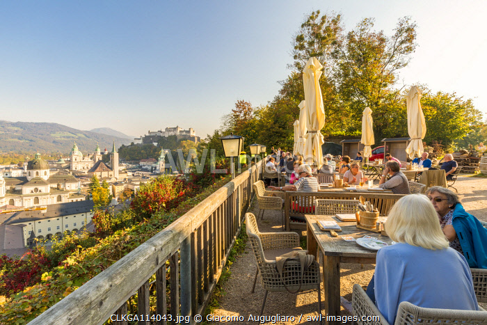 People sitting at a panoramic bar, Salzburg, Salzburger Land, Austria