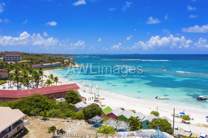 Tourist resorts along the tropical Long Bay beach, Antigua, Antigua and Barbuda, Caribbean, West Indies