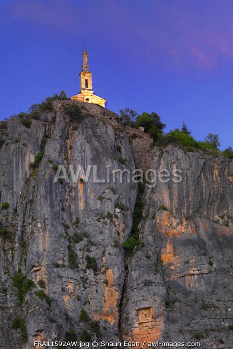 France, Provence, Alpes Cote d'Azur, Castellane, Notra dame du Roc at dusk