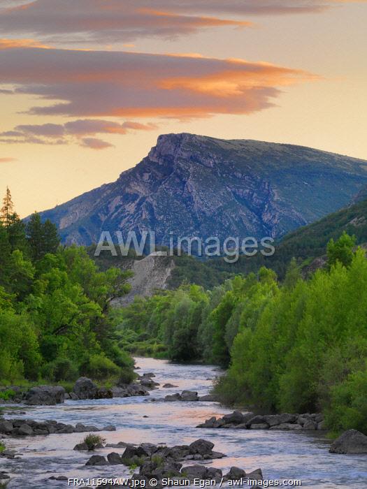 France, Provence,  Alpes Cote d'Azur, Castellane, Verdon river at dusk