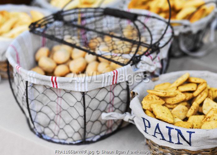 France, Provence, Alpes Cote d'Azur, Castellane, bread at market stall