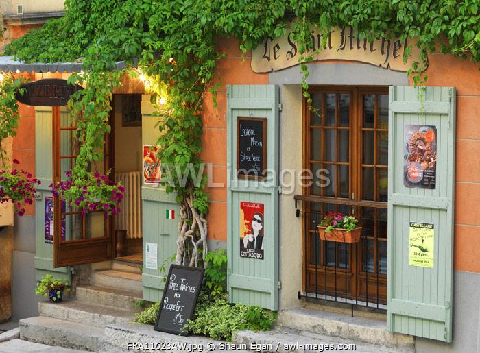 France, Provence, Alpes Cote d'Azur, Castellane, facade of cafe