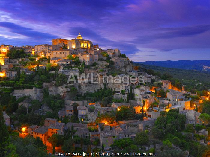 France, Vaucluse, Provence, Gordes, illuminated at night