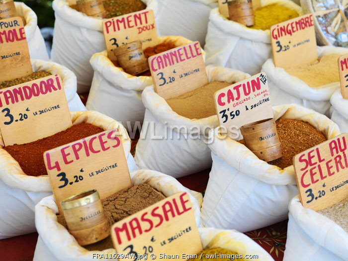France, Provence, Alpes Cote d'Azur, Castellane, Herbs and spices at market stall