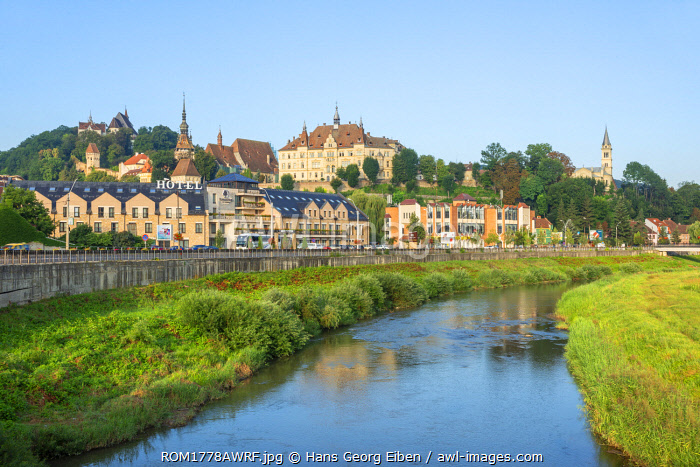 Tarnava Vare river with the old town of Sighisoara in the morning light, Unesco World Heritage Site, Transylvania, Romania