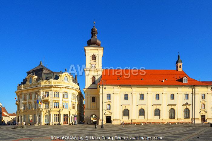 Piata Mare and the Holy Trinity Roman Catholic Church, Sibiu, Transylvania, Romania