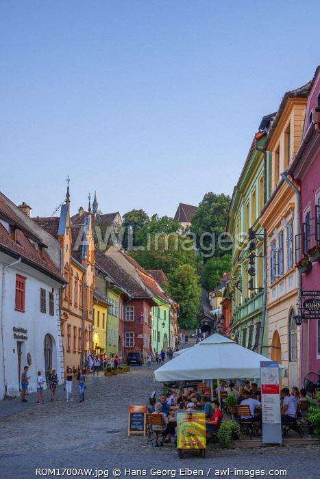 Alley with restaurant, Sighisoara, Transylvania, Romania