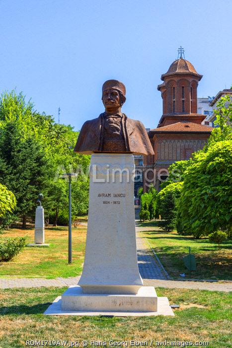 Sculpture for Avram Iancu with Kretzulescu Church, Bucharest, Walachia, Romania