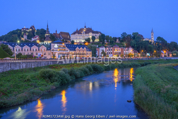 Tarnava Vare river with the old town of Sighisoara at dawn, Unesco World Heritage Site, Transylvania, Romania