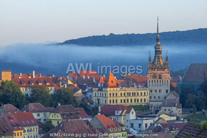 View at the old town of Sighisoara at dusk, Unesco World Heritage Site, Transylvania, Romania