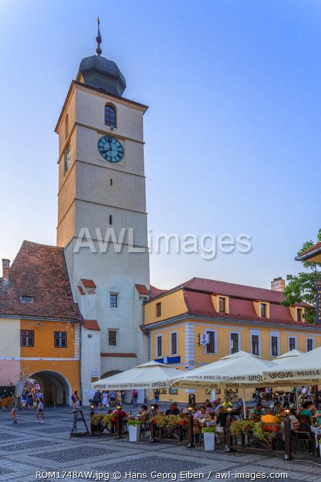 Piata Mare with Old Town Hall tower, Sibiu, Transylvania, Romania