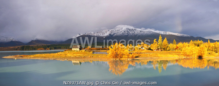 Autumn reflections at Lake Tekapo, Canterbury, New Zealand