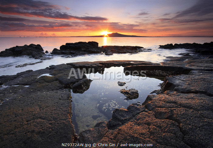 Sunrise with a view of Rangitoto Island, Auckland, New Zealand