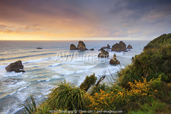 Sunset at Motukieie beach, West Coast, New Zealand