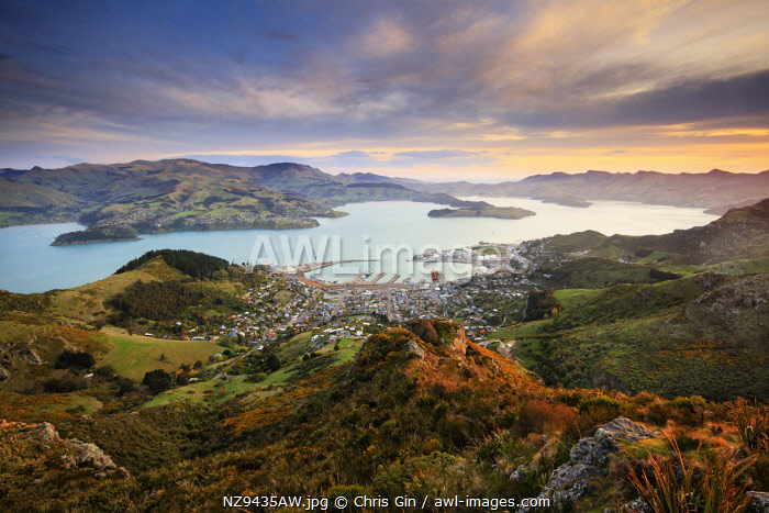 Sunset looking towards Lyttelton Harbour, from the Port Hills, Christchurch, New Zealand