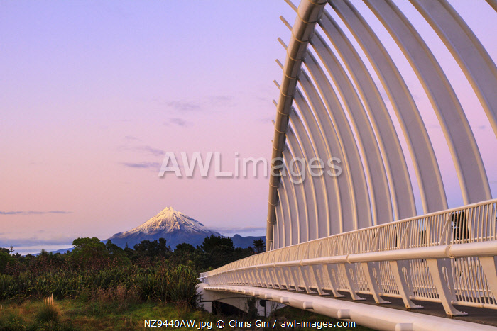 View of Mount Taranaki and Te Rewa Rewa Bridge, New Plymouth