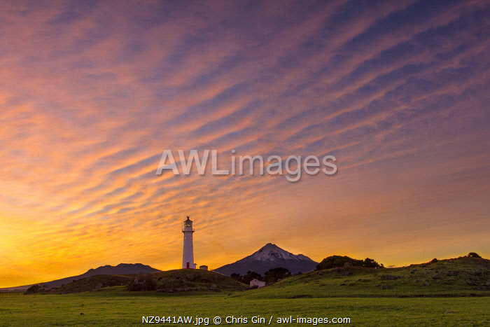 Unusual cloud formations at sunrise, from Cape Egmont lighthouse, Taranaki, New Zealand