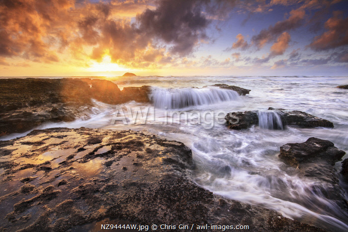 Sunset at Maori Bay beach, Auckland, New Zealand
