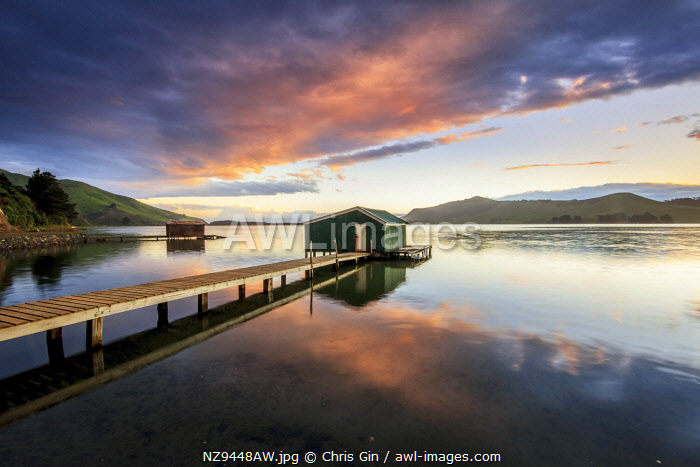 Old boat shed at Hoopers Inlet, Otago Peninsula, New Zealand
