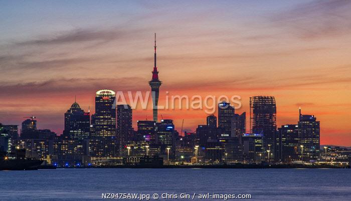 City skyline at sunset, Auckland, New Zealand
