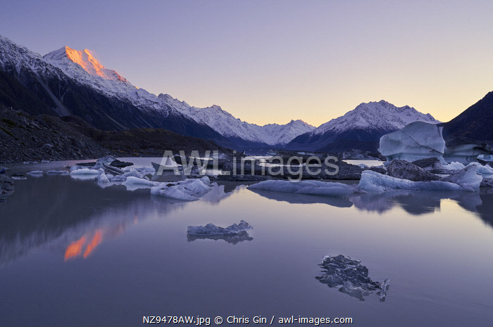 Sunrise at Tasman Lake, Mount Cook National Park, Canterbury, New Zealand