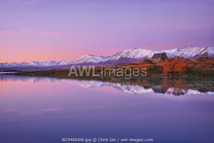 Sunset reflections at Lake Tekapo, Canterbury, New Zealand