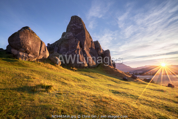 Sunrise at Castle Hill reserve, Canterbury, New Zealand