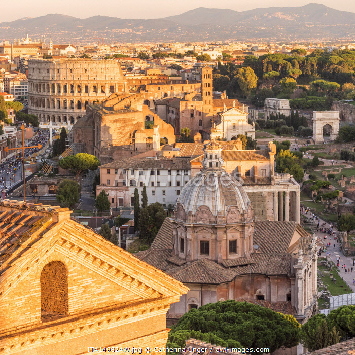 Europe, Italy, Rome. Scenic view over the Forum Romanum and the Colosseum.
