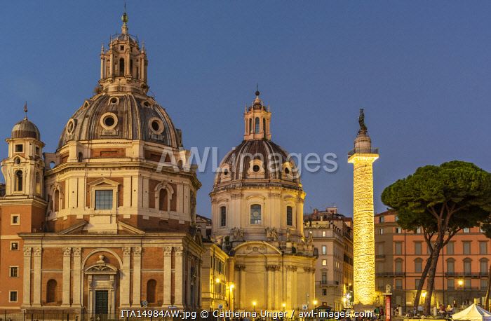 Europe, Italy, Rome. Blu hour with the Trajan's column and the two neighbouring churches