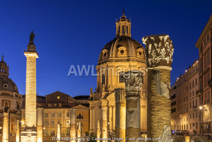 Europe, Italy, Rome. Blu hour with the Trajan's column and forum and the churches.