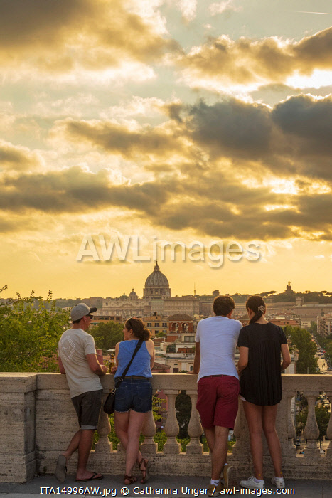 Europe, Italy, Rome. View toward Saint Peter's at sunset from the Pincio Terrace.