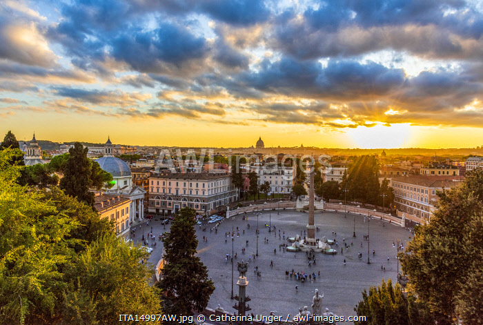 Europe, Italy, Rome. View toward the Piazza del Popolo and Saint Peter's at sunset from the Pincio.