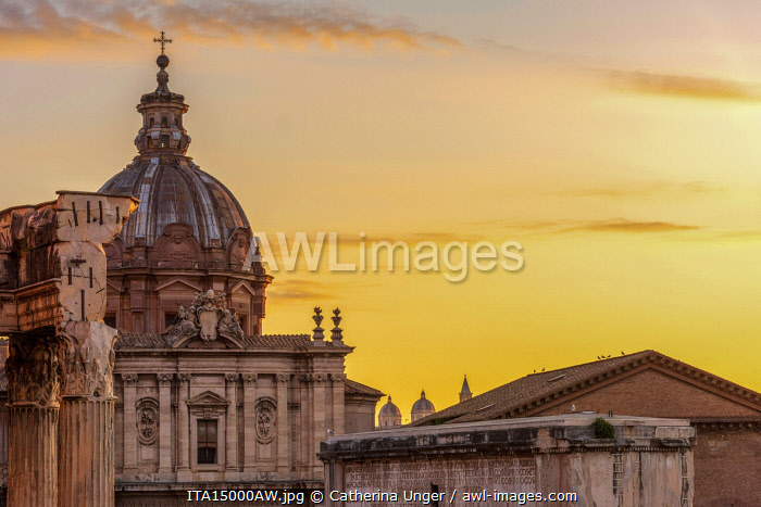 Europe, Italy, Rome. The Forum Romanum and the Church of Luca and Martina at dawn.