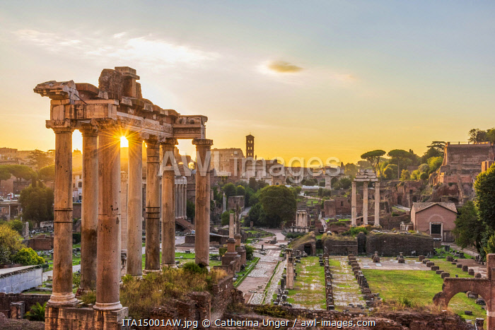 Europe, Italy, Rome. The Forum Romanum with the temple of Saturn at sunrise.